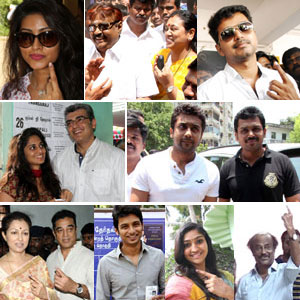 Celebrities at Poll Booth Stills