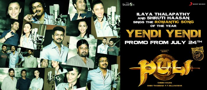 Yendi Yendi Song Poster from Puli Movie